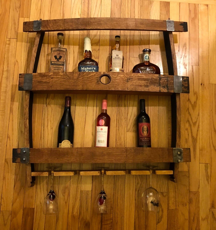 Wine/bourbon rack w/ glass holder