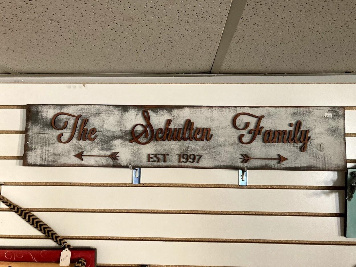 Distressed Wedding Name Sign