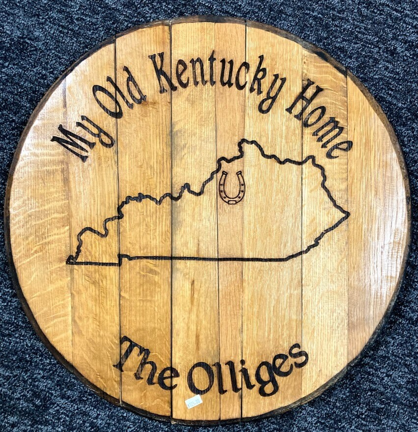 My Old Kentucky Home Engraved Barrel Lid