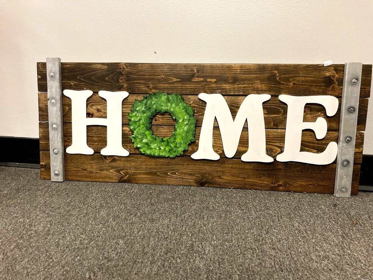 """Stained """"Home"""" Sign"""