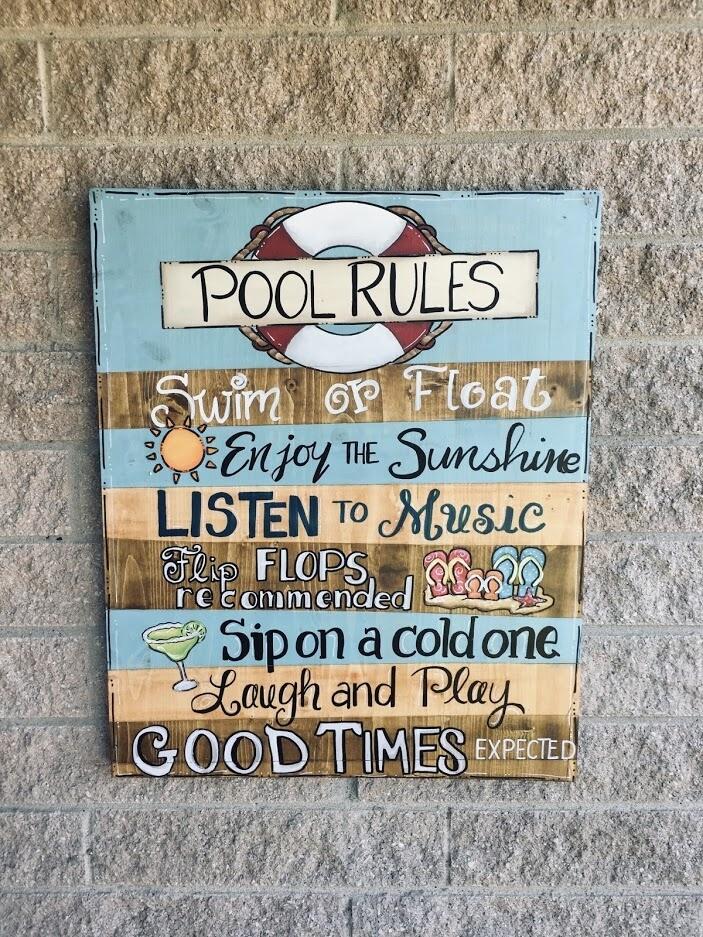Pool Rules Wood Sign