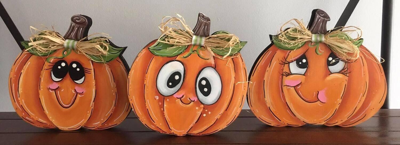 Three Pumpkin Sitter Set Paint Class
