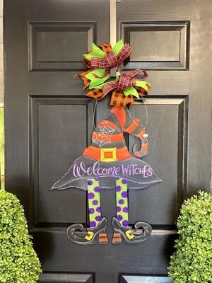Witch's Hat Polka Dot Legs Door Hanger