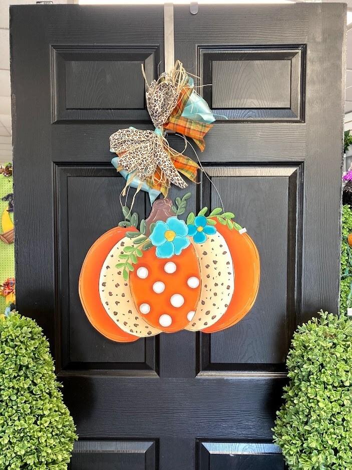 Pumpkin w/ cheetah desing Door Hanger