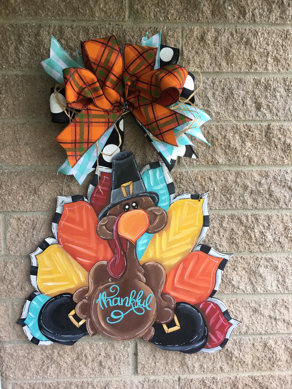 Goofy Turkey With Border Door Hanger
