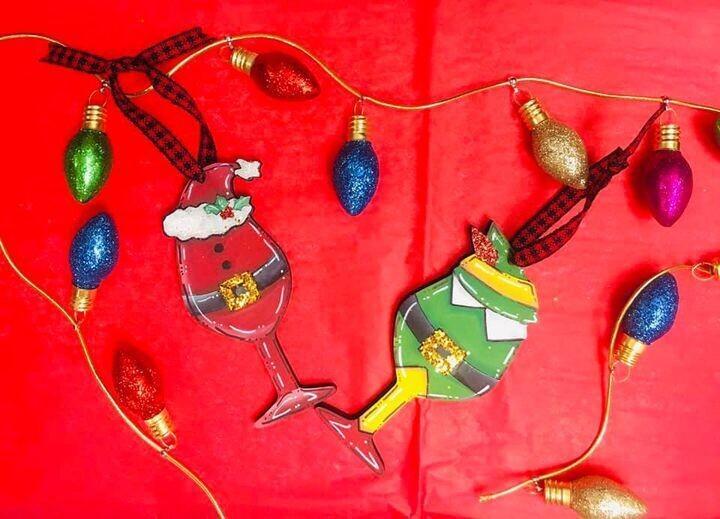 Elf/Santa Wine glass Ornament
