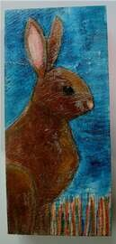 bunny in grass painting original a2n2koon wall art on thick textured reclaimed wood rabbit painting on wood block navy coral brown night sky
