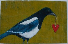 magpie with heart on a string painting original a2n2koon textured wall art on reclaimed wood textured magpie bird on wood artwork red heart