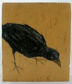 crow raven bird painting original a2n2koon wall art on textured reclaimed wood block black bird crow raven on wheat signed rustic wall art
