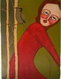 woman portrait with cedar waxwing trees original 18x24