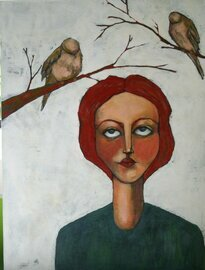 woman portrait with mourning doves original 18x24