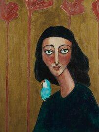 woman portrait with lovebird original 18x24
