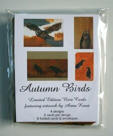 autumn owls crows ravens blackbirds note cards birds stationery set of 8 note cards and white envelopes in resealable sleeve limited edition