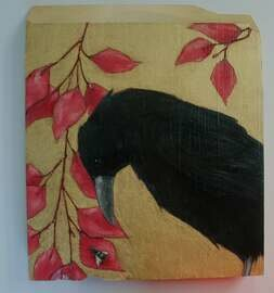 crow raven black bird with bee painting original a2n2koon wall art on reclaimed wood crow raven on ornate gold black bird with vines leaves