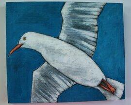 flying seagull gull bird painting original a2n2koon wall art beach house decor on textured reclaimed wood seaside palette ocean cute artwork