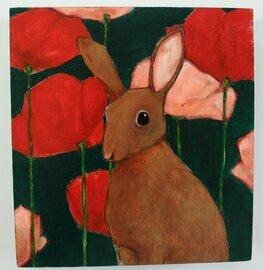 bunny rabbit in flowers painting original a2n2koon wall art on reclaimed wood rabbit in poppies textural artwork on wood red pink brown teal
