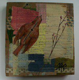 bird twig antique paper collage original a2n2koon painting wall art on reclaimed antique wood includes old maps, wallpaper, letters, stamp