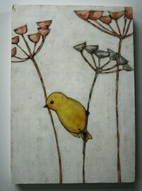 yellow bird with twigs plants painting original a2n2koon wall art on reclaimed wood whimsical textural bird on branch gray peach white art