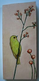 yellow bird peach flowers painting original a2n2koon wall art on reclaimed wood whimsical textural floral bird on branch artwork for girls