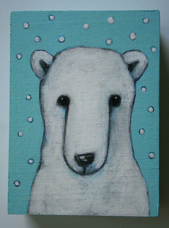 cute polar bear on a snowy day painting original a2n2koon wall art on reclaimed wood small whimsical bear snowfall winter day holiday gift