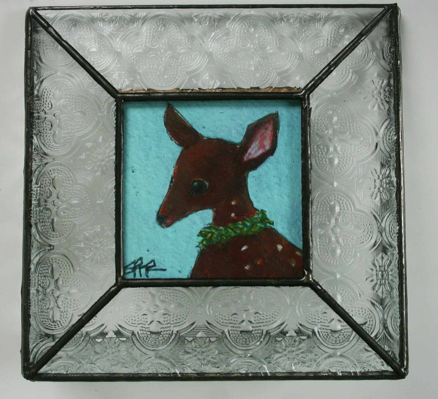 "sweet baby deer fawn with wreath 3x3"" a2n2koon print in stained glass clear vintage-style stand-up frame.  limited edition comes in gift box"