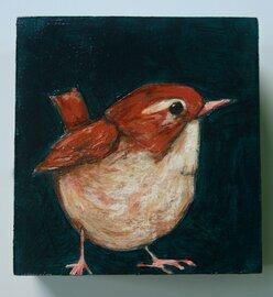small brown wren bird painting original a2n2koon textured wall art on reclaimed wood cute little bird teal blue artwork comes in gift box