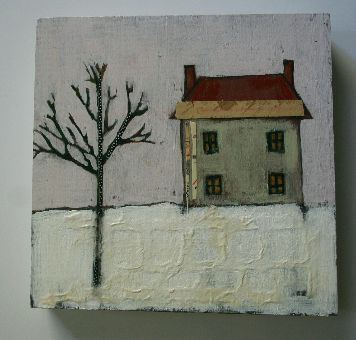 house in snowy landscape painting original a2n2koon wall art on reclaimed wood mixed media winter scene small art home in the snow artwork