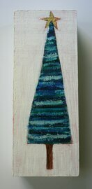 small blue holiday tree with star painting original a2n2koon mixed media striped tree cute wall art on reclaimed wood blue christmas tree