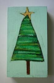 evergreen tree with star painting original a2n2koon mixed media striped tree cute wall art on reclaimed wood christmas tree holiday decor