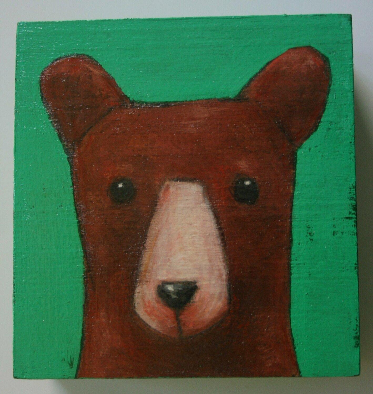 baby brown bear painting original small a2n2koon wall art on reclaimed wood block comes in gift box brown bear artwork for nursery kids room