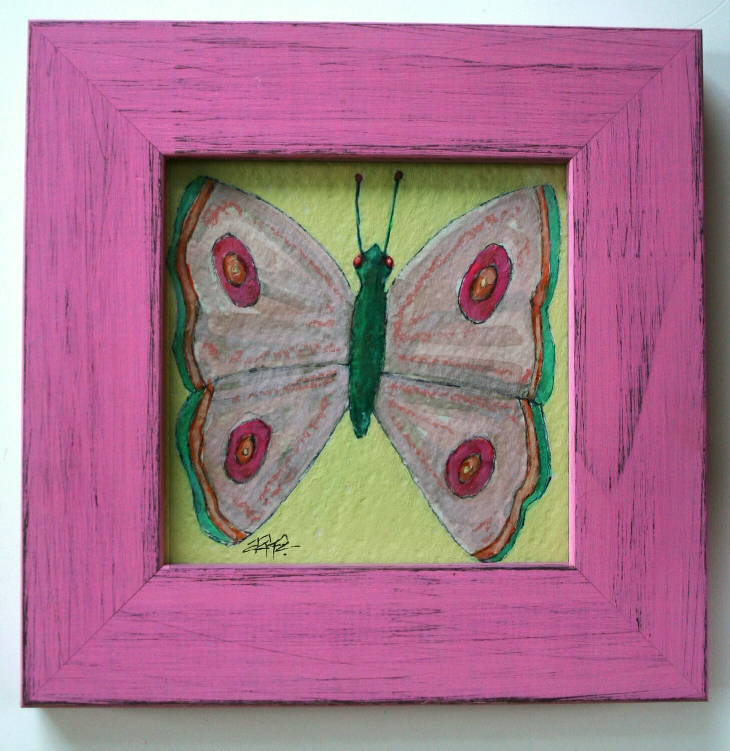 """pastel butterfly original a2n2koon 5x5"""" painting on paper wall art framed artwork 7x7"""" distressed pink wood frame butterfly art for nursery"""