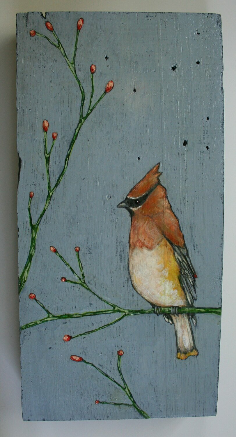 waxwing bird on branch painting original a2n2koon wall art on reclaimed antique wood cedar waxwing bird on tree branch periwinkle blue green