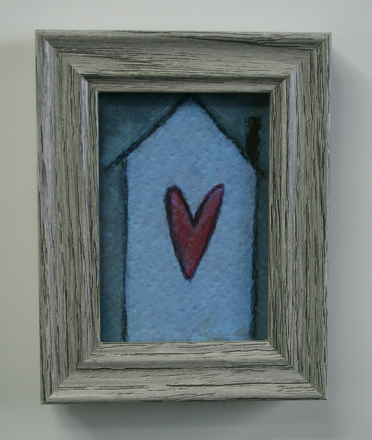 "home is where the heart is artwork 2.5x3.5"" a2n2koon giclee print framed in gray wood stand-up frame miniature home art comes in gift box"