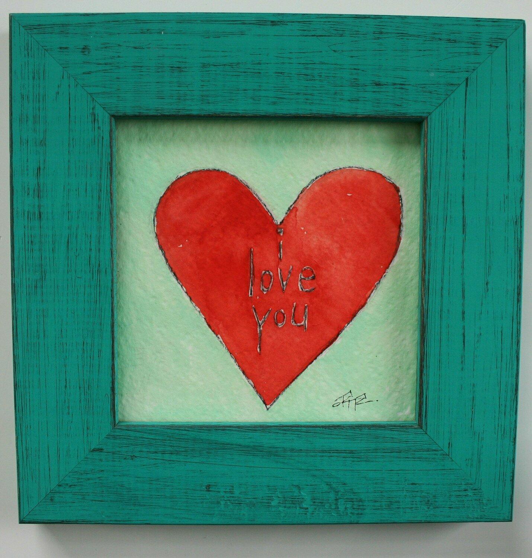 "i love you heart original a2n2koon 5x5"" painting on paper wall art framed artwork 7x7"" distressed teal blue wood frame anniversary gift art"