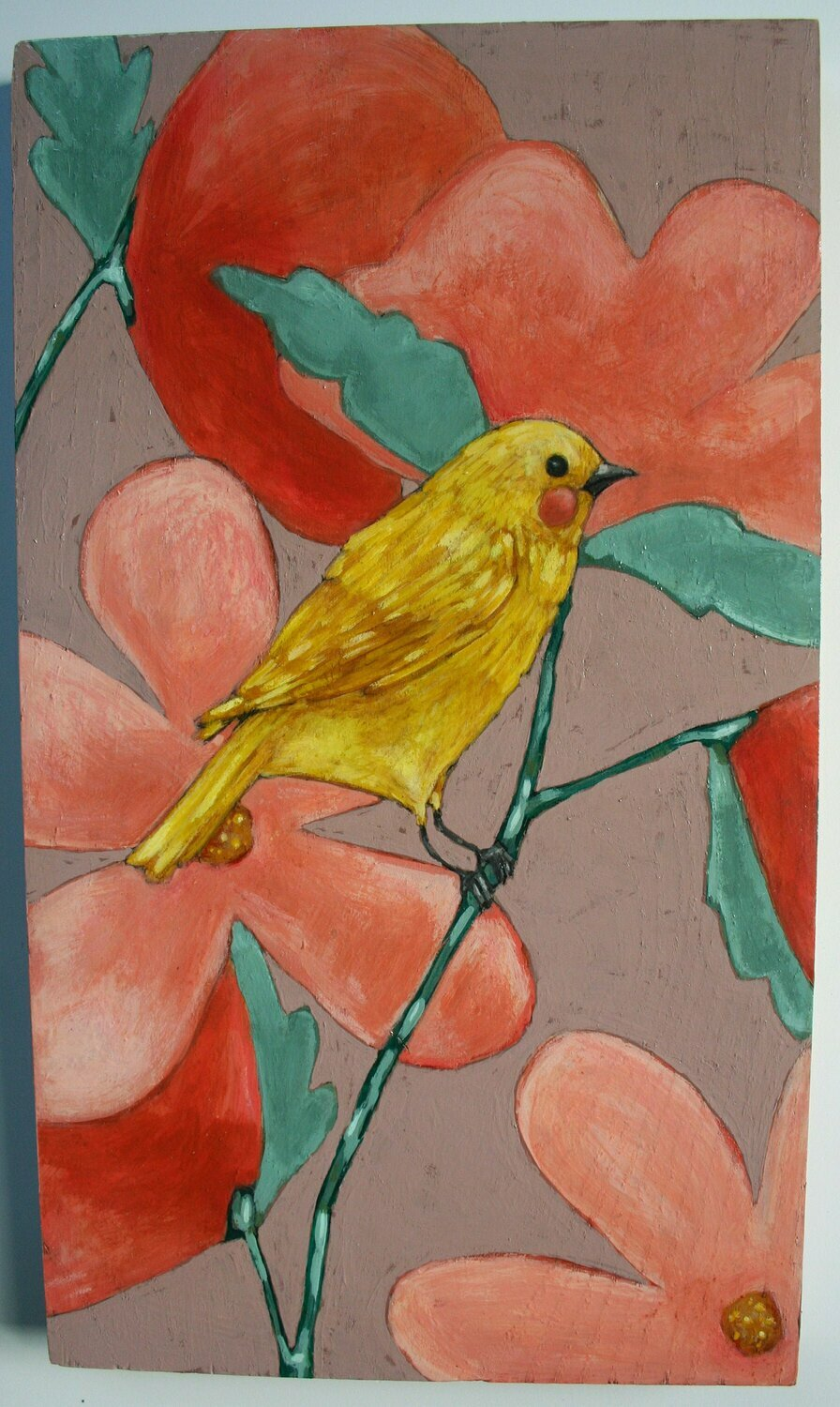 original yellow bird on branch pink & red flowers painting a2n2koon wall art on reclaimed wood whimsical textural bird wisteria tone artwork