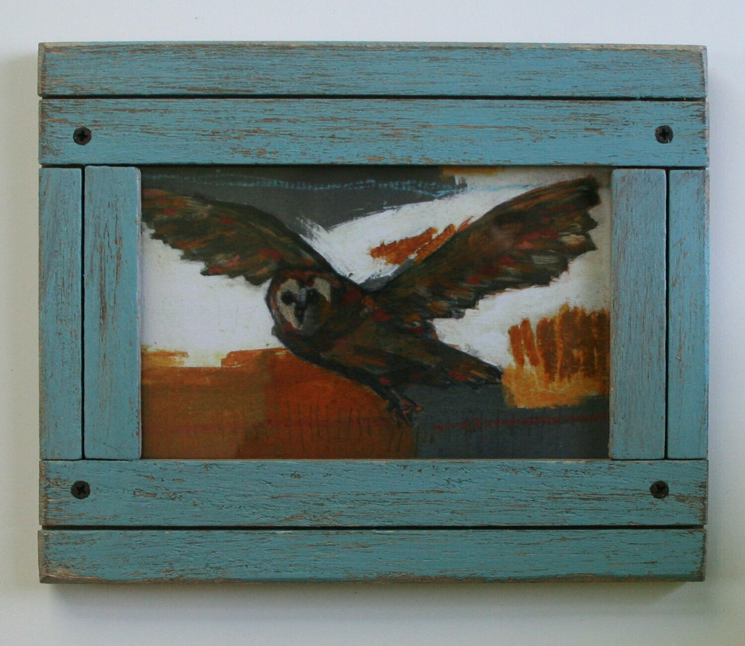 "framed flying owl bird print limited edition 4x6"" a2n2koon giclee in distressed wood frame in blue limited edition framed art prints"