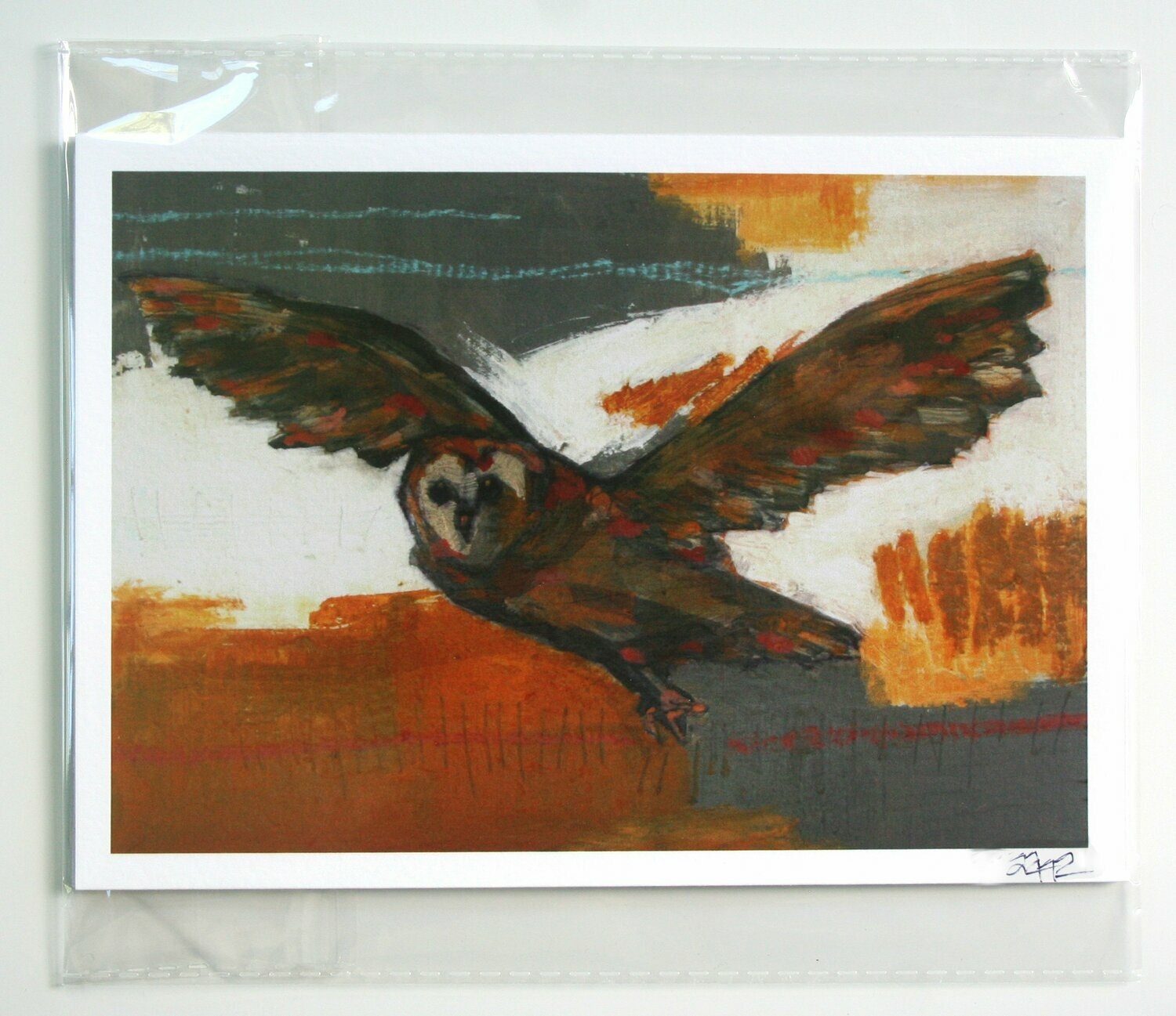 "flying owl bird print limited edition 5x7"" a2n2koon giclee in resealable sleeve fits standard 5x7"" frame bird in flight art print autumn art"