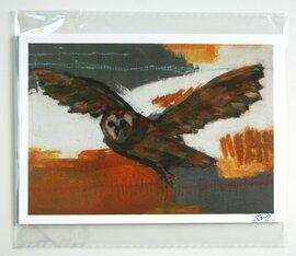 flying owl bird print limited edition 5x7