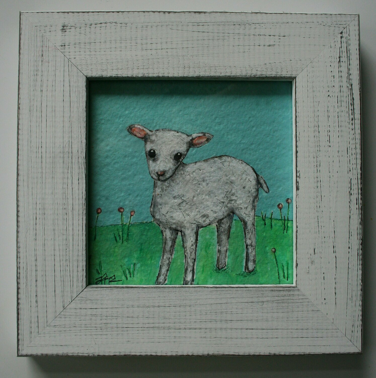 "baby sheep lamb in grass with flowers original a2n2koon 5x5"" painting on paper wall art framed cute artwork 7x7"" distressed white wood frame"