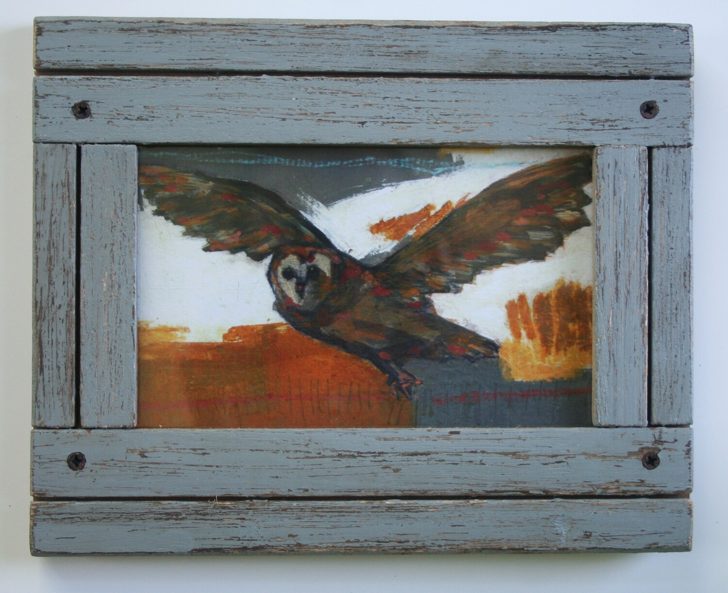 """framed flying owl bird print limited edition 4x6"""" a2n2koon giclee in distressed wood frame in gray limited edition framed art prints"""
