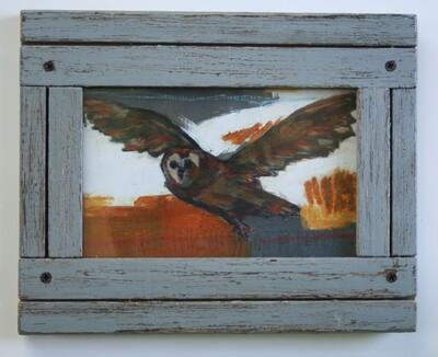 framed flying owl bird print limited edition 4x6
