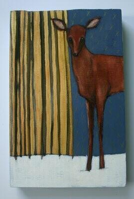 deer in winter forest snow trees painting original a2n2koon wall art on reclaimed wood doe deer twilight artwork gold perwinkle blue stars