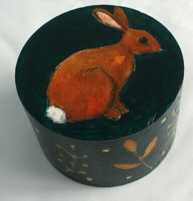 small bunny rabbit sculpture painting original a2n2koon artwork on reclaimed wood sweet little bunny with plants leaves comes in gift box
