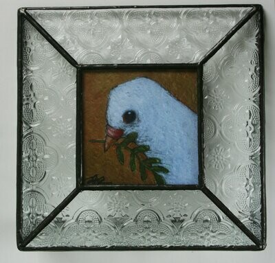 """dove of peace white dove bird 3x3"""" a2n2koon print in stained glass clear vintage-style stand-up frame.  limited edition. comes in gift box."""