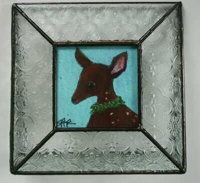 """sweet baby deer fawn with wreath 3x3"""" a2n2koon print in stained glass clear vintage-style stand-up frame.  limited edition comes in gift box"""