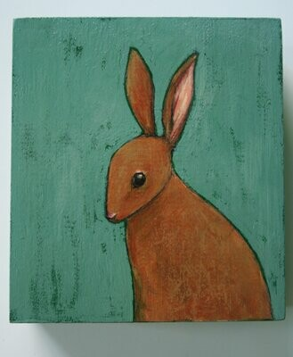 little bunny rabbit painting original a2n2koon wall art on reclaimed wood whimsical bunny portrait painting holiday gift comes giftwrapped