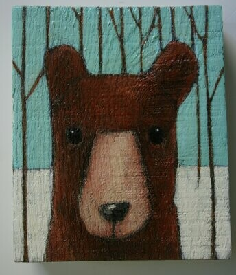 bear in snowy forest painting original a2n2koon wall art on reclaimed wood block brown bear winter trees woods whimsical bear artwork kids