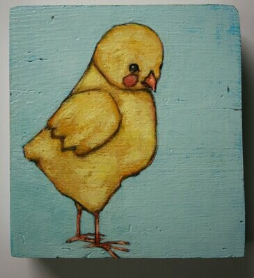 baby chicken yellow chick painting original a2n2koon wall art on thick block of reclaimed wood whimsical chicken artwork for nursery room