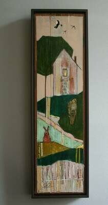 """home on a hillside rabbit birds tree original a2n2koon painting 23x7x1.5"""" handcrafted wood frame sunset house bunny wall art vintage paper"""