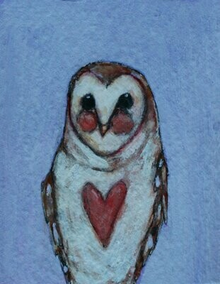 """little owl artwork 2x3"""" a2n2koon giclee print framed in distressed white wood stand-up frame miniature cute owl with heart comes in gift box"""